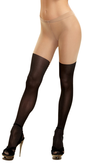 Tights Sheer Lace-up Nude/blk