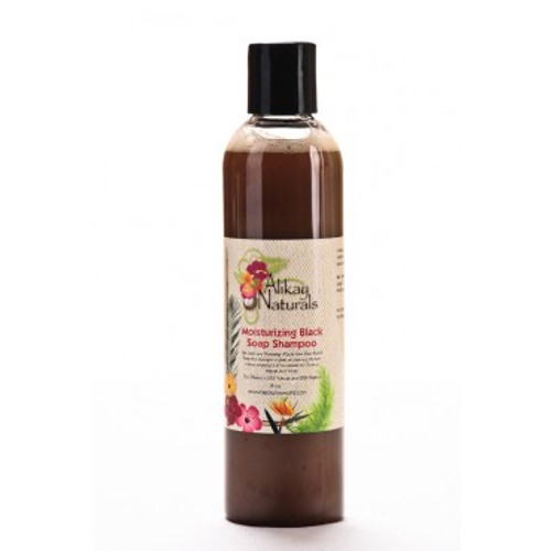 Alikay Naturals Moisturizing Black Soap Shampoo 8oz. Shop here for the Alikay Naturals Moisturizing Black Soap Shampoo 8oz or at ishopnaturals.com or at African Naturals St. Louis, MO 63109 at everyday low prices. Alikay Naturals Moisturizing Black Soap Shampoo will get your hair and scalp really clean with natural ingredients. Traditional cleansers tend to strip your hair of its natural moisture, leaving it dry and itchy. This sulfate free shampoo cleans and moisturizes at the same time. Made from natural Raw Black Soap it gets down deep into the scalp to remove gunk and buildup. The tropically scented blend contains a natural mix of Coco Seed Powder, Plantain skins, and Tea Tree oil that protects and moisturizes the hair from the scalp to the root. No artificial thickening agents have been added but don't be fooled by the watery form, this shampoo gets the job done. This is Where you can buy, find, product, information, ratings, reviews, benefits of Alikay Naturals Moisturizing Black Soap Shampoo 8oz.