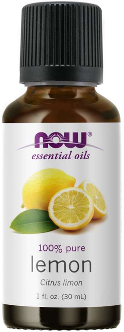 NOW 100% PURE LEMON (CITRUS LIMON) ESSENTIAL OIL - 1 OZ. - BENEFITS: Refreshing, Cheerful & Uplifting.