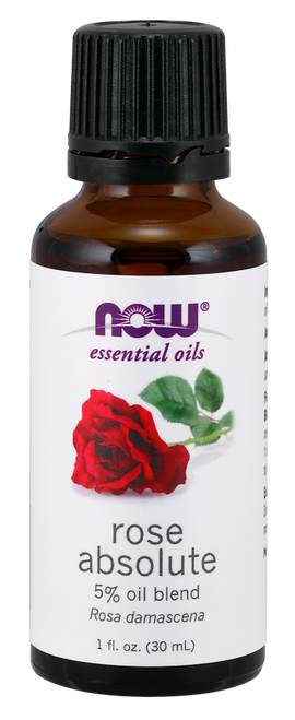 NOW 100% Pure Rose Absolute 5% Oil - 1 oz. (7597) NOW 100% Pure & Natural Rose Absolute 5% Oil Blend (Rosa Damascena) - Benefits: Romantic, Uplifting & Comforting.