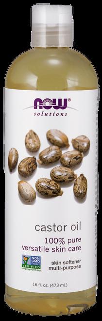 NOW Foods 100% Pure Castor Oil (Ricinus Communis) - BENEFITS: Versatile Skin Care, Skin Softener, Multi-Purpose.