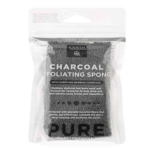Earth Therapeutics Body Sponge - Purifying Vegetable - Medicinal Charcoal - 1 Count