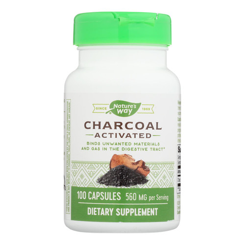 Nature's Way - Activated Charcoal - 280 Mg - 100 Capsules