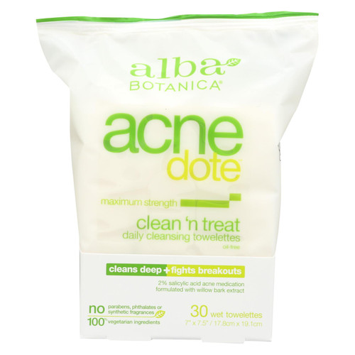 Alba Botanica - Acnedote Clean Treat Towel - 30 Pack
