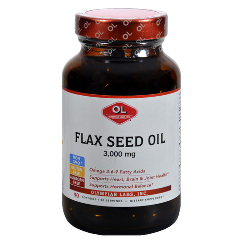 Olympian Labs Flax Seed Oil - Certified Organic - High Lignan - 3000 Mg - 90 Softgels