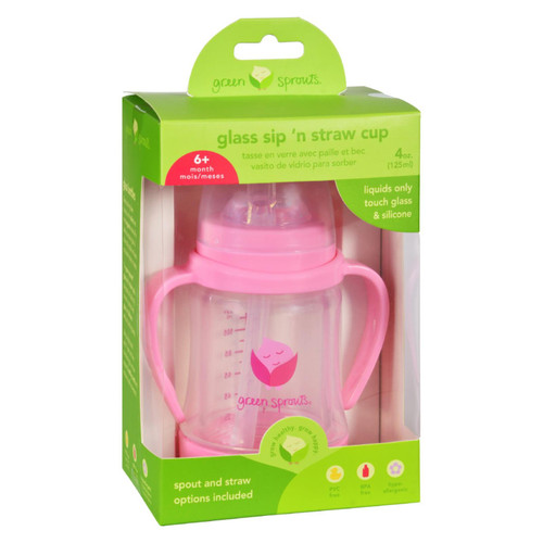Green Sprouts Cup - Sip N Straw - Glass - 6 Months Plus - Pink - 1 Count