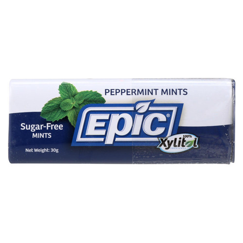 Epic Dental - Xylitol Mints - Peppermint Xylitol Tin - 60 Ct - Case Of 10
