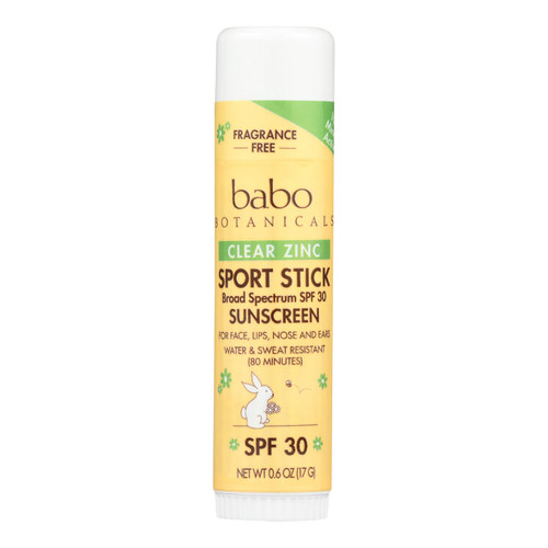 Babo Botanicals - Clear Zinc Sport Stick - Unscented Spf 30 - .6 Oz - Case Of 12