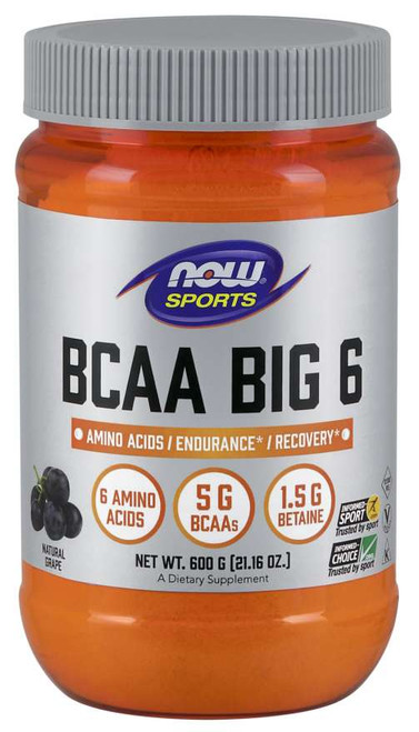 BCAA Big 6, Natural Grape Flavor Powder - 600 g