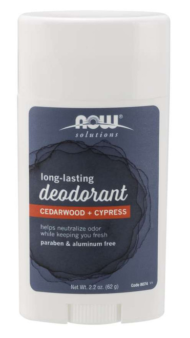 NOW Long-Lasting Deodorant Stick, Cedarwood + Cypress - 2.2 oz.