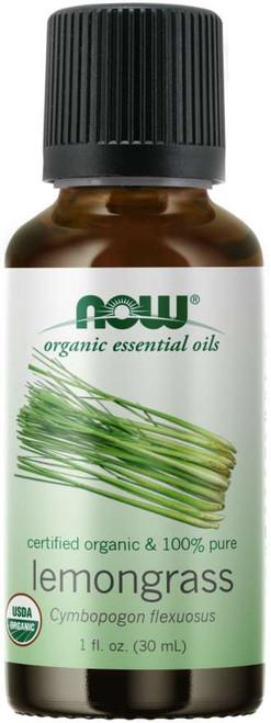 NOW® 100% Pure Lemongrass Essential Oil, Certified Organic - 1