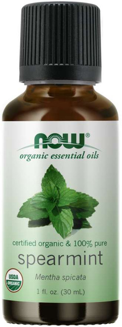 NOW 100% Pure Spearmint Essential Oil, Certified Organic - 1 fl. oz.