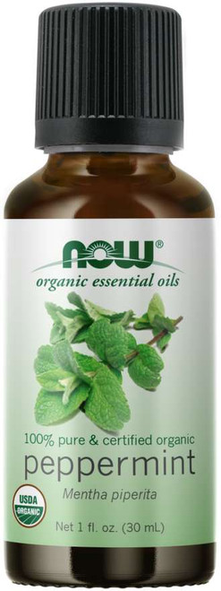 NOW 100% Pure Peppermint Essential Oil, Certified Organic - 1 oz.