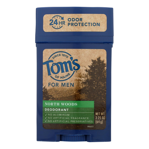 Tom's Of Maine Long Lasting Wide Stick Deodorant - North Woods - Case Of 6 - 2.25 Oz.