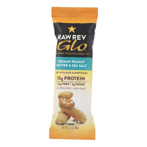 Raw Revolution Glo Bar - Creamy Peanut Butter And Sea Salt - 1.6 Oz - Case Of 12