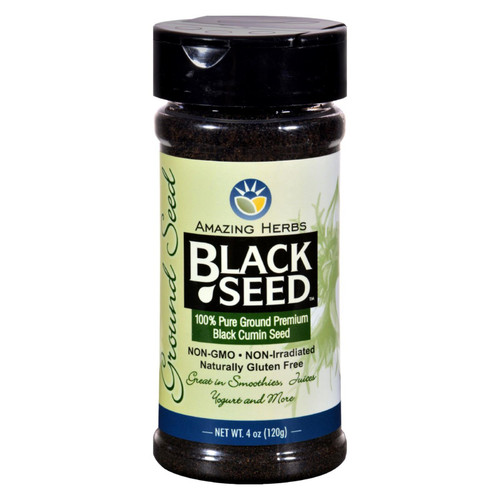Amazing Herbs 110% Pure Ground Premium Black Cumin Seed promotes nutritional support in the form of fiber, essential fatty acids and proteins. Additionally, it can be added to smoothies and juices, sprinkled on yogurt and a host of other delicious meals.