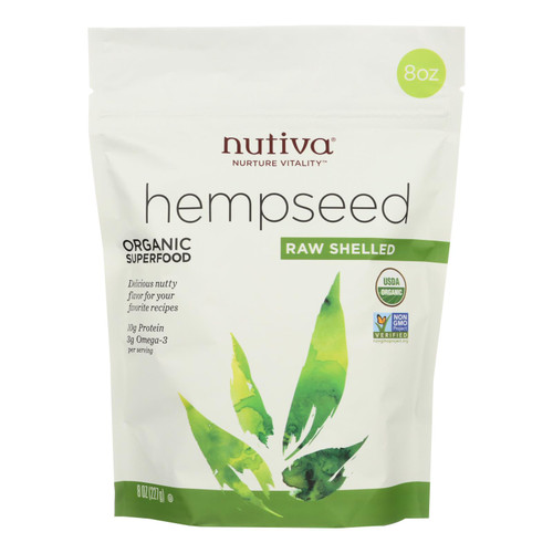 Nutiva Certified Organic Hempseed - Shelled - 8 Oz - Case Of 6