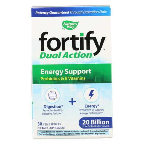 Nature's Way - Fortify Dual Action Energy Support - Probiotics And B Vitamins - 30 Veg. Capsules