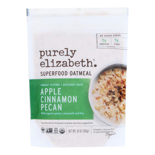 Purely Elizabeth Ancient Grain Organic Oatmeal - Apple Cinnamon Pecan - Case Of 6 - 10 Oz.