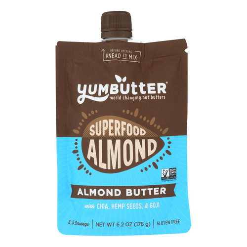 Yumbutter Superfood Almond Butter - Case Of 6 - 6.2 Oz