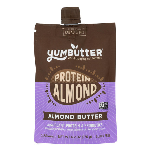 Yumbutter Protein Almond Butter With Plant Protein & Probiotics - Case Of 6 - 6.2 Oz