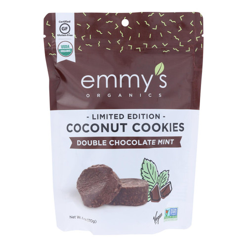 Emmy's Organics - Cookies Double Chocolate Mint - Case Of 8 - 6 Oz