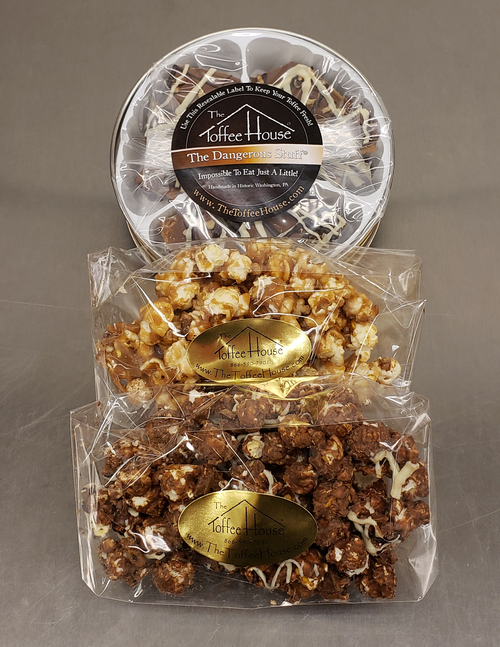 Chocolate Toffee Popcorn, Toffee Popcorn, and The Dangerous Stuff Toffee.