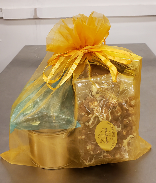 Gathered in a wonderful organza bag are: Toffee Popcorn, Sea Salt Caramels, Bark and almond English toffee.