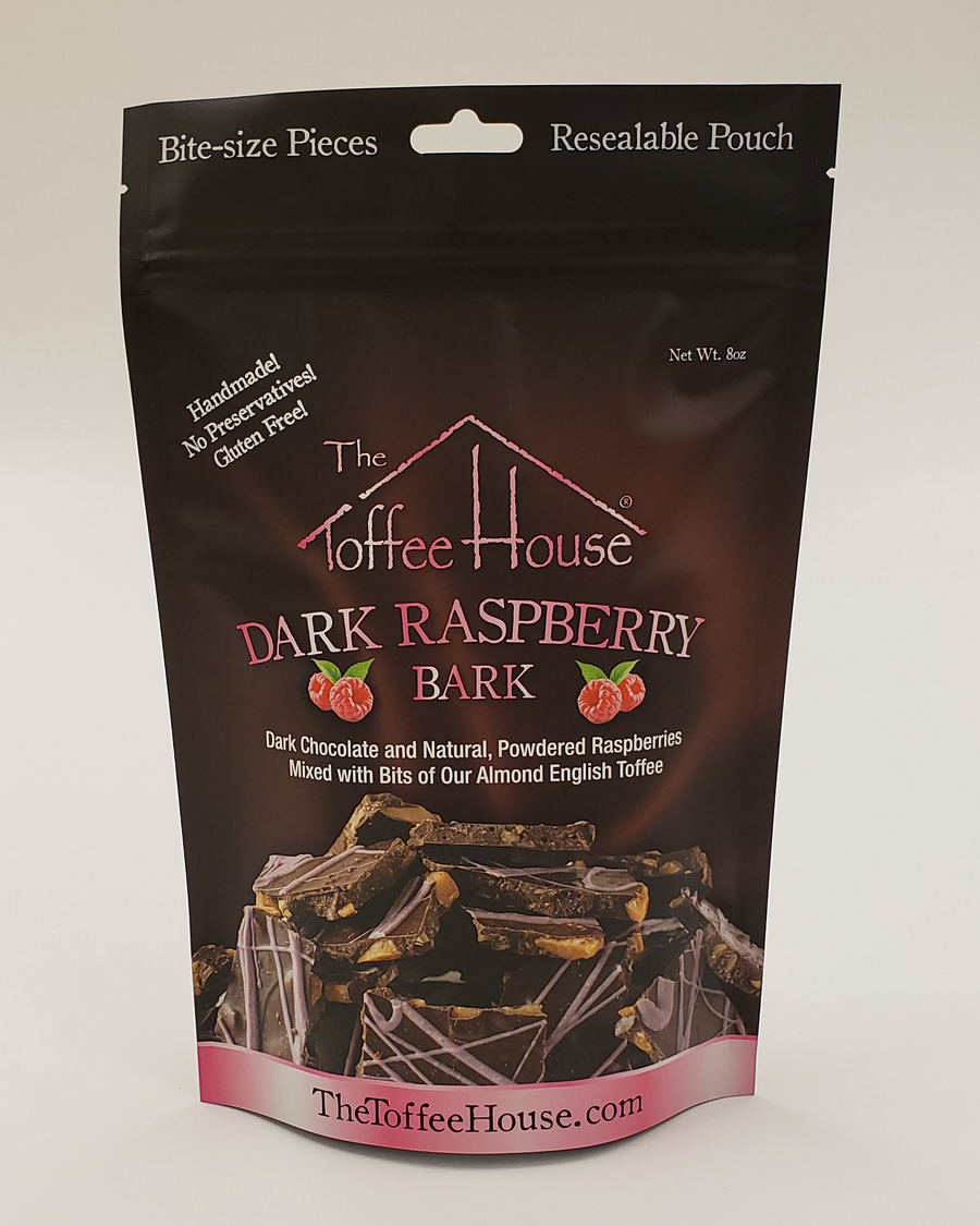 Resealable foil pouch of Dark Raspberry Toffee Bark.