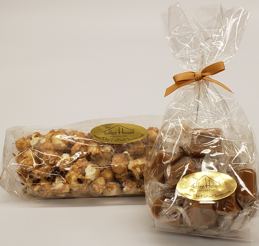 8 oz. Caramels and 8 oz. Toffee Popcorn