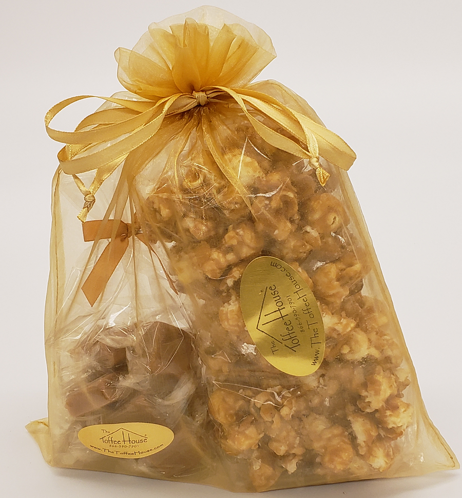 The gift set is packed in a nice gold color organza bag w/ bow!