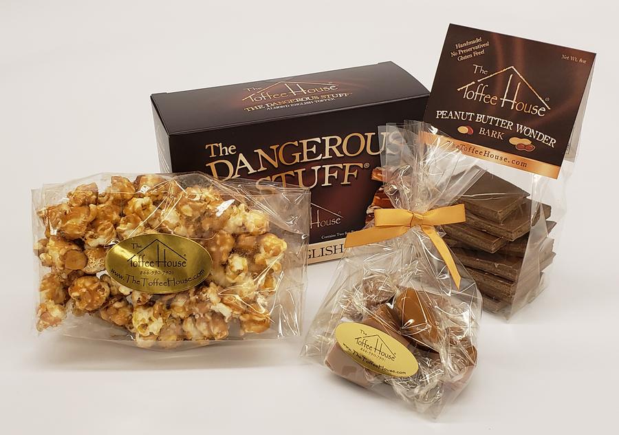 4 oz. Caramels, 4 oz. Toffee Popcorn, 8 oz. Peanut Butter Wonder Bark and 16 oz. The Dangerous Stuff