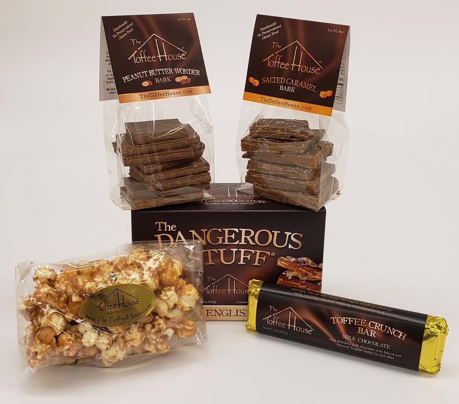 Toffee Crunch Bar, 4 oz. Toffee Popcorn, 8 oz. Salted Caramel Bark, 8 oz. Peanut Butter Wonder Bark, 16 oz. The Dangerous Stuff