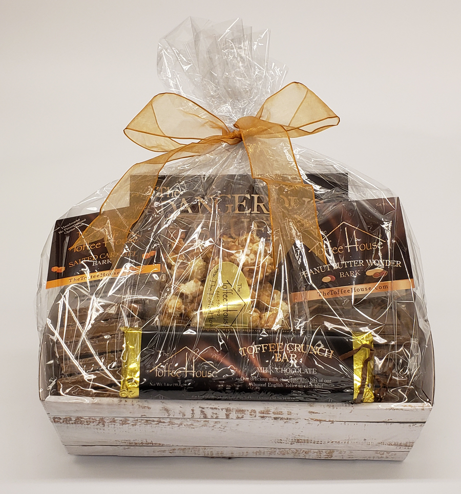 Decorative basket, shrink wrapped with all the goodies inside for that special person!
