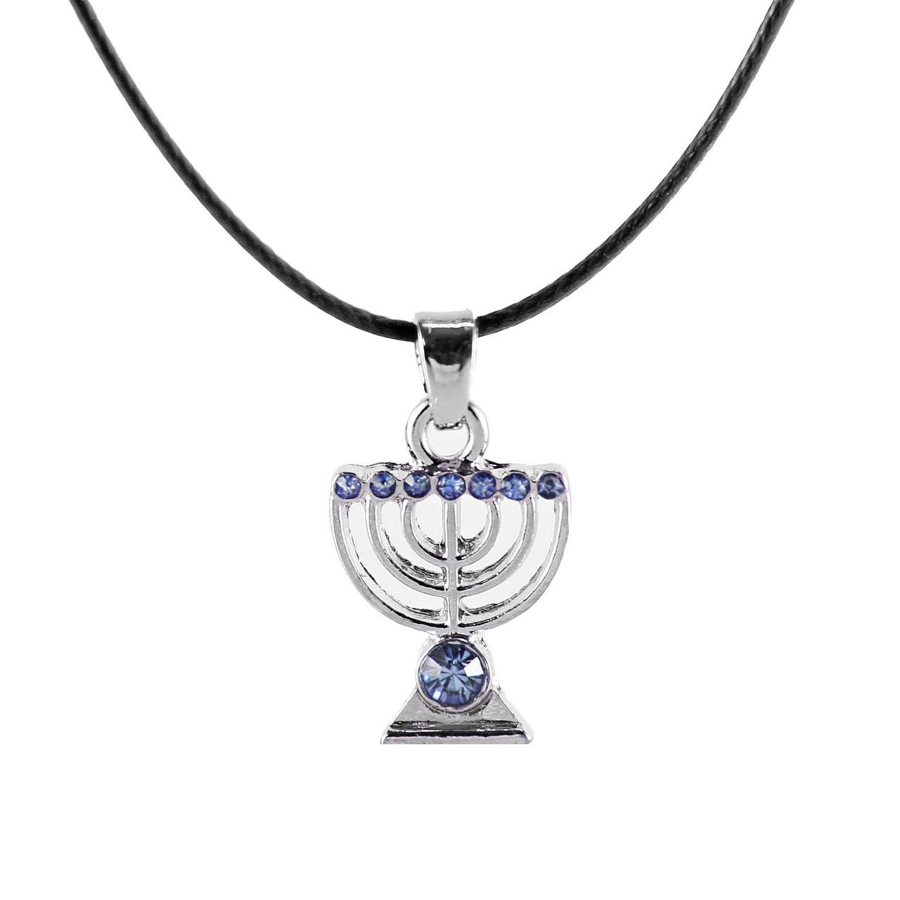 Sky Jewish Menorah Hanukkah Lamp Necklace Israel Kabbalah Judaica Jewelry Gift