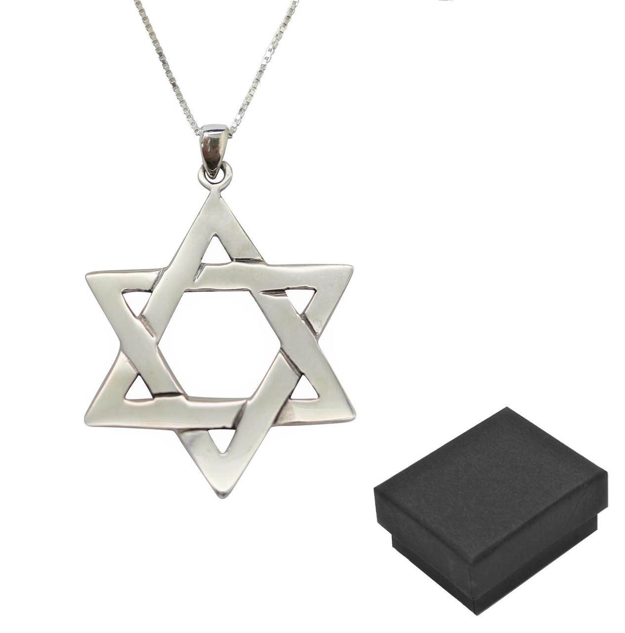 925 Sterling Silver Opal Jewish Star of David Braided Pendant Holyland