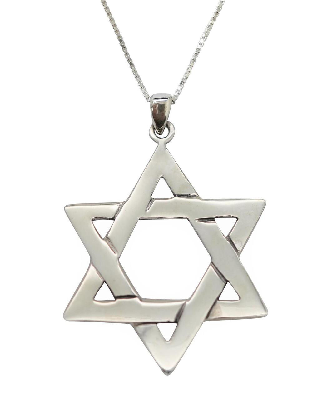 925 Sterling Silver Jewish Big Braided Star of David Pendant Holyland Necklace