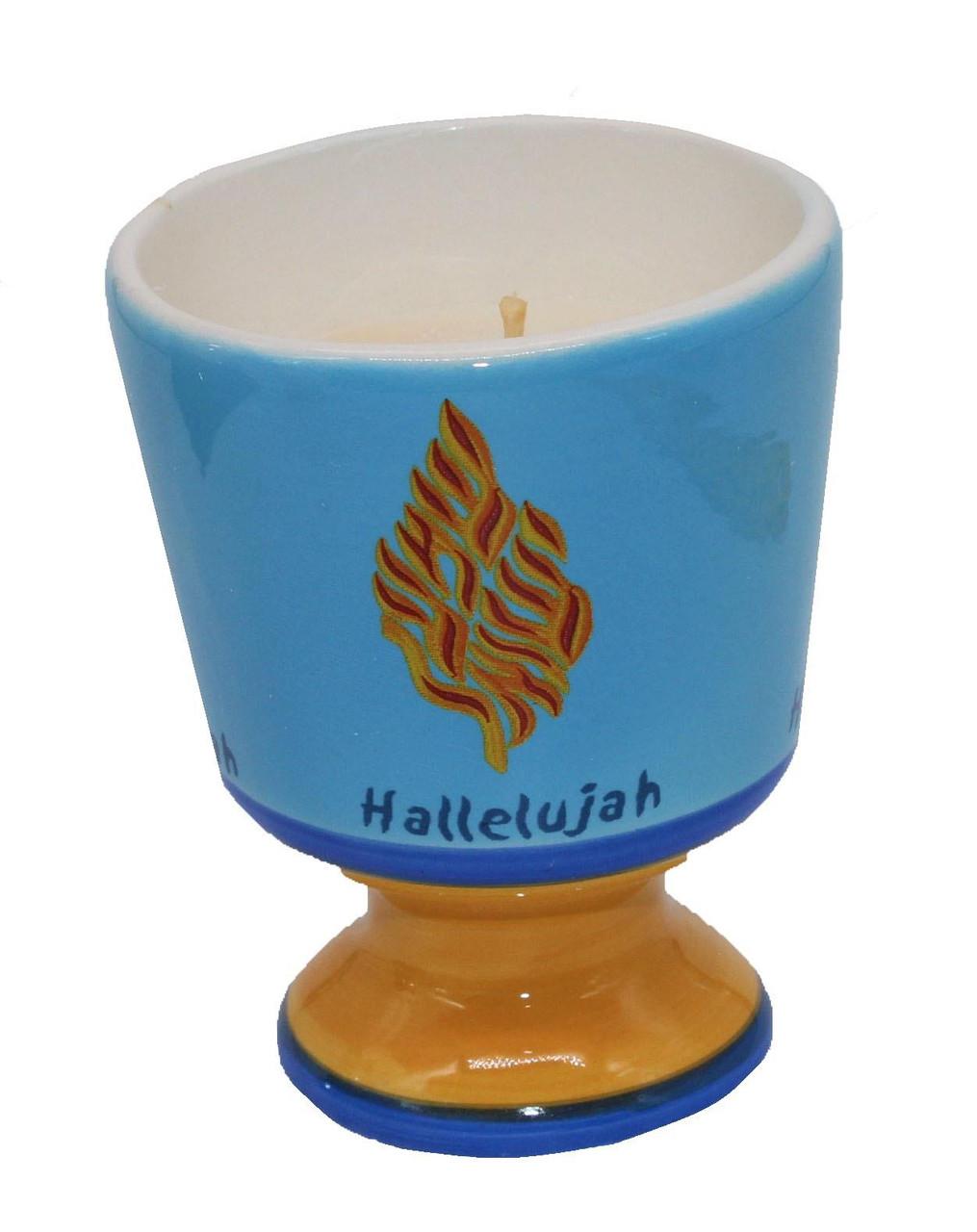 Ceramic Decor Holder Candle Wax Judaica Memorial Shema Israel Hallelujah Holiday