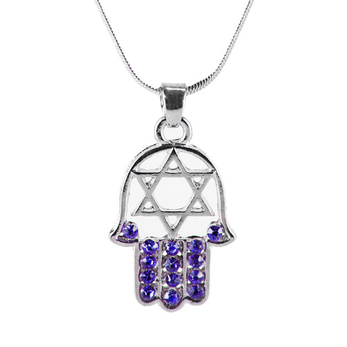 "Blue HAMSA HAND ""Star of David"" Necklace Crystals silver Tone Amulet Pendant Jewish"