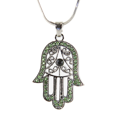 Green Hamsa Necklace Hand of God Evil Eye Charm Pendant Jewish Judaica Kabbalah