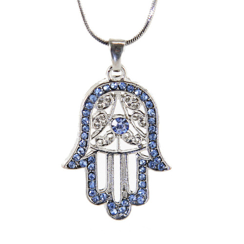 Sky Hamsa Necklace Hand of God Evil Eye lucky Charm Pendant Jewish Judaica Kabbalah