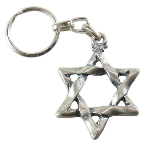 """STAR OF DAVID"" Charm Key Ring Chain Jewish Israel Judaica Kabbalah Pendant Gift"