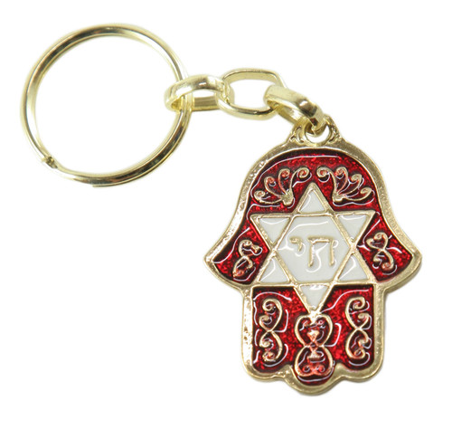 Chai & Star Of David Red HAMSA Israel Jewish Kabbalah Protection Key Ring Chain