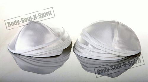 10 White Satin Kippah Yarmulke Tribal Jewish Yamaka Kippa Hat Covering Cap