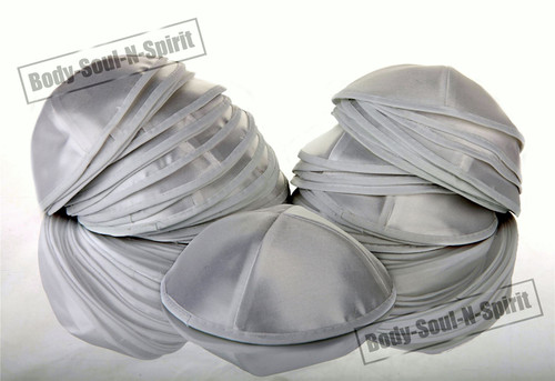 25 White Satin Kippah Yarmulke Tribal Jewish Yamaka Kippa Hat Covering Cap
