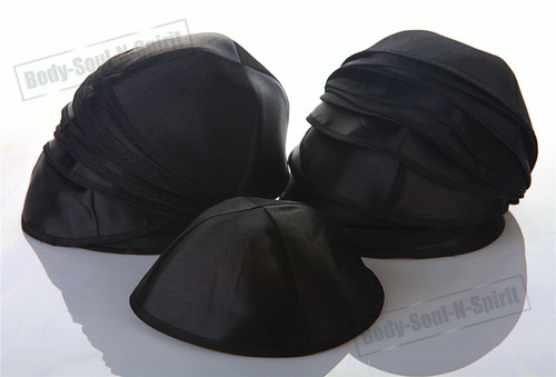 25 Black Satin Kippah Yarmulke Tribal Jewish Yamaka Kippa Hat Covering Cap