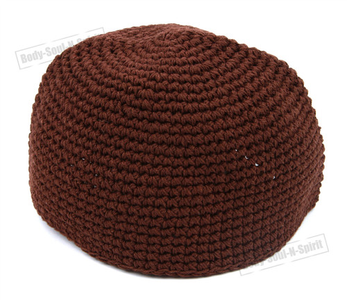 Brown Knitted Kippah Yarmulke Tribal Jewish Hat covering Holy sacred cupola Cap