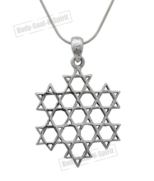 925 Silver Israel Star of David magen Shield Necklace holyland judaica soul Gift