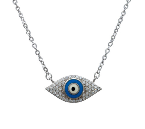 925 Silver Blue eye Luck and success Necklace judaica kabbalah protection Gift