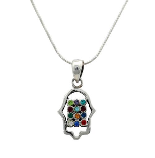 925 Silver Hamsa hand of god Hoshen Charm necklaces 12 tribes holyland gift